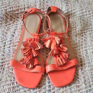 J CREW Neon Orange Sandals Size 9 1/2